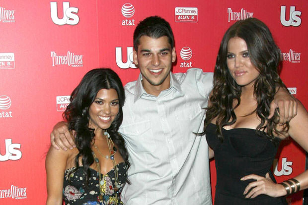 Kourtney Kardashian with Robert Kardashian Jr and Khloe Kardashian